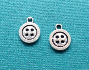 12 Button Charms Silver Sewing Buttons Charm - CS2873