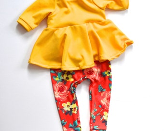 Floral Leggings  and Peplum Top Set or Sold Individually