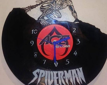 Spiderman Super Hero Vinyl Record Clock
