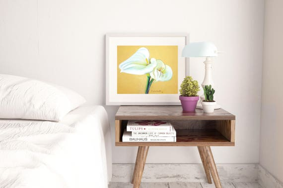 White callas. Original pastel on special paper, gift idea for her, home office traditional decoraration, bedroom or living room decore.