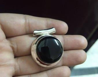 Black Onyx Pendant, Sterling Silver Pendant, Round Stone Pendant, Chakra Pendant, Boho Pendant, Cabochon Pendant, Delicate Pendant, Gift