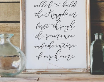 Christian Print - Called To Build The Kingdom - Typography Print - Minimal Print - Gifts Under 20 - Wedding Gift - Art Print - Home Decor