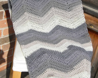 Ombre Chevron Afghan Throw