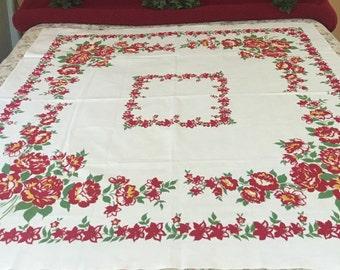 1950's  Beautiful Heavy Crisp Cotton Tablecloth