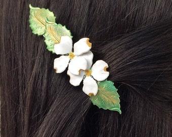 Hair Barrette Dogwood flower, medium