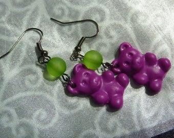 Earrings metal plate Teddy bear candy pink purple polymer clay and green bead