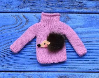 Blythe sweater cashmere sweater for Blythe with mink hedgehog Blythe outfit  Blythe doll clothes Blythe jumper  Blythe pink sweater