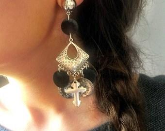 Silver Earrings, Silver Cross Earrings, Cross Charm Earrings, Women's Jewelry, Clip On Earrings, Made in Greece by Christina Christi Jewels.