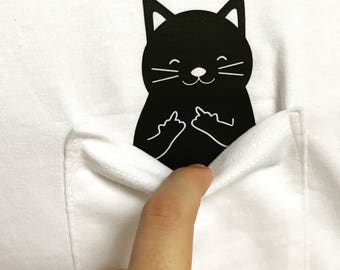 Cat Shirt Funny Flipping Off