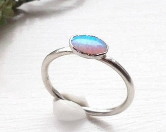Opal Stacking Ring-Opal silver stacking ring-oval opal stacking ring-sterling silver opal ring-Dainty Opal Ring-Stackable Opal Ring-October