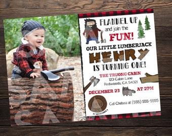 Lumberjack First Birthday Invite // Custom Birthday Invitation with Photo //  5x7 // High Resolution Digital Download JPEG & PDF