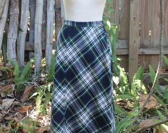 Vintage 60's Blue Plaid Midi Skirt-XS
