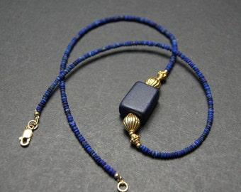 Natural Lapis Lazuli, Ancient Afghan Pendant, Vermeil Gold, Designer Necklace