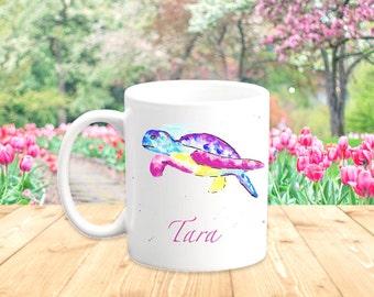 Sea Turtle Mug, Sea Animal Mugs, Cute Turtle Gift, Colourful Mug Gift, Animal Lover Gift, Printed Mugs, Art Mugs for Girls, Made in England
