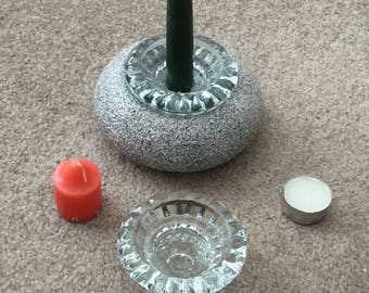 Candle Holder Textured Stone like finish-New- Hand Crafted by seller