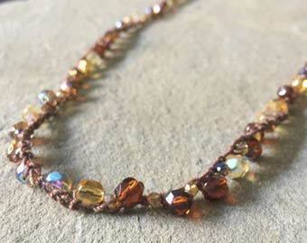 Czech Glass Crochet Necklace / Gift for Women / Mother's Day / Amber Medley / Brown / Faceted