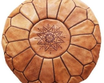 SALE* Cinnamon Morrocan Leather Pouf