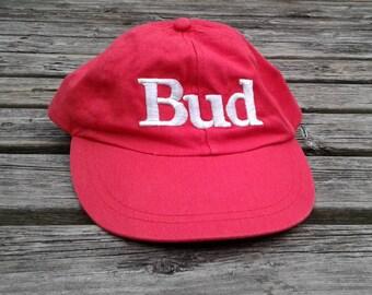 """Vintage 80's / 90's Budweiser """"King of Beers"""" Bud Red Strapback Cap"""