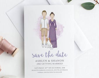 Custom Save The Date | Save The Date Portrait | Custom Digital Portrait | Couples Portrait | Custom Illustration | Couple Illustration