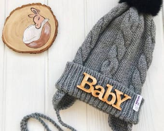 Grey Baby merino hat Organic baby clothes Baby reveal box Organic newborn hat Knit earflap hat Merino wool baby hat Woolen hat Crochet ear