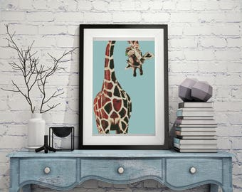 Modern cross stitch pattern giraffe,  giraffe PDF pattern cute, cross stitch pattern funny