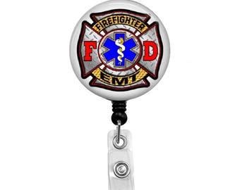 Badge Reel Retractable ID Badge Holder, Firefighter EMT