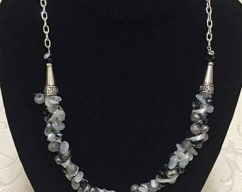 Gray, Silver and Black Wire Crochet Necklace Set / Women's Gift Ideas / Crochet / Jewelry / Ladies Fashion / Pearls / Crystals / OOAK