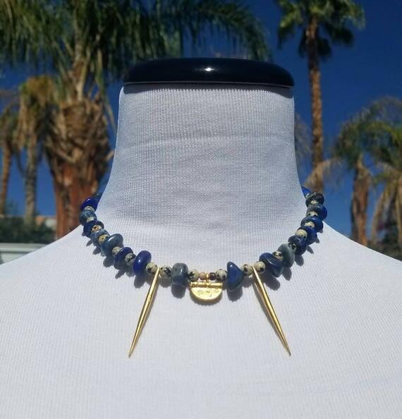 Gold Plated Brass Dalmatian Stone Lapis Necklace Choker