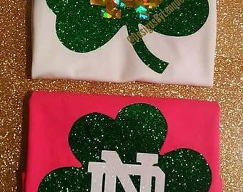 NOTRE DAME tees. Glitter ND tees. Notre Dame football tees. Girls Notre Dame tees. Football fan tees. Fighting Irish tees.