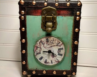 Wooden Steampunk Clock Box , Mantel Clock , Map Clock, Gold Studed