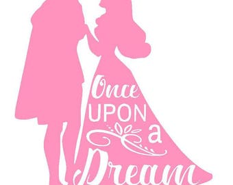 Disney's Sleeping Beauty Aurora and Phillip Vinyl Decal | Once Upon a Dream | Princess | Yeti Cup | Car Window Sticker | Laptop |