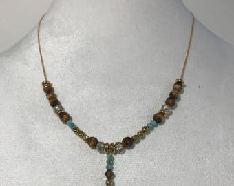 Brown and turquoise stone on gold plated necklace