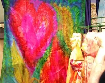 Handpainted silk scarf pink hearts, pure silk,