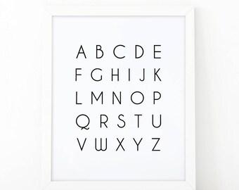 Alphabet wall art, Alphabet print, alphabet printable, ABC print, educational print, Black and white, ABC printable, abc wall art, mnimalist