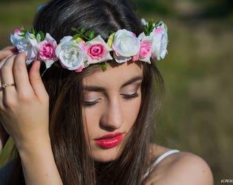 Rose floral wreath Floral girl halo Adult flower crown Pink hair wreath Summer wreath Woman head piece Flower head wreath  Hair accessory