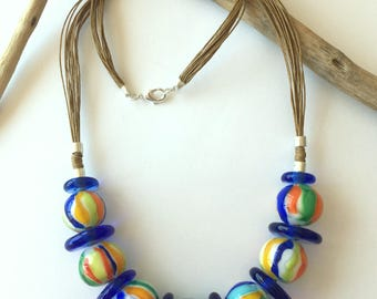 Lampwork colorful necklace.  Statement glass necklace.  Murano glass necklace.  Rainbow colors necklace.  Lampwork jewelry.