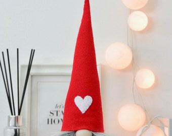 Love Gnome, Valentine's Tomte, Handmade Authentic Nordic Gnome made by Nordichrista