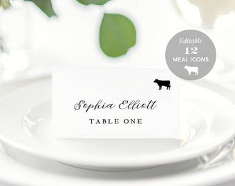 Wedding Place Card Printable, Place Card Template, Meal Choice Selection, Name Card, Seating Card, Instant Download Editable PDF #SPP056pc