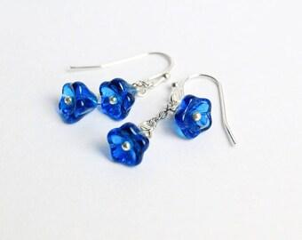 royal blue earrings drop earrings tiny flower jewelry double earrings gift daughter cute jewelry summer earrings dark blue jewelry gift W266
