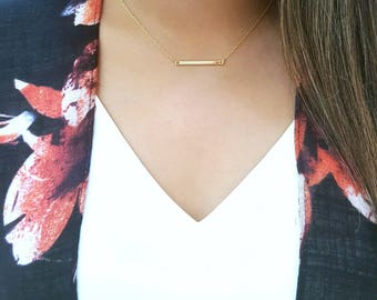 Gold Bar Necklace, Charm Necklace, Tiny Silver Bar Necklace, Delicate Chain Layering Necklace, Rectangle Pendant