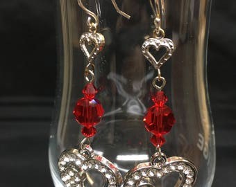 Heart Earrings with Red Swarovski Crystals
