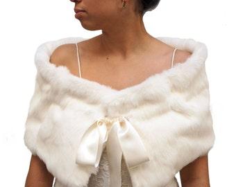 Bridal fur stole, ivory fur stole, white fur stole, white fur shawl, wedding cape, bridal capelet, winter cape, fur shrug,cocktail stole