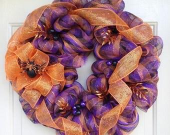 Halloween in Purple, Orange and Black, Spider Wreath, Halloween Wreath,