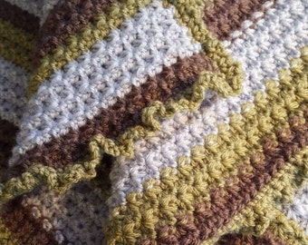 Land and Sea Baby Blanket, Blue, Brown, Green Baby Blanket, Silver Blue, Dusty Green & Taupe Baby Blanket