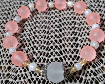 Rosary Stretch Bracelet - Salmon Frosted