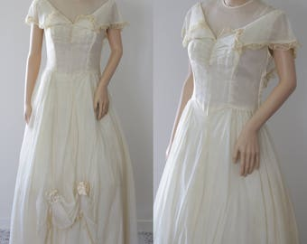 Ravishing 50s Ecru Debutante/Engagement/Bridal/Prom Dress