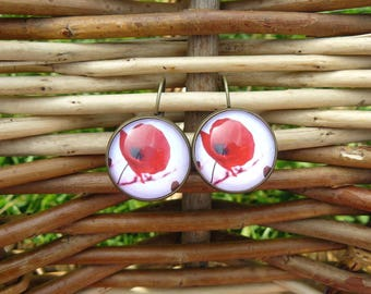 Bronze poppy 18 mm cabochon earrings