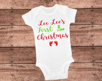 First Christmas Bodysuit, Personalized Bodysuit, First Christmas Outfit, First Christmas Baby, Infant Bodysuit, Personalized First Christmas