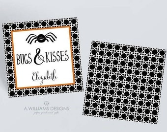 Personalized Halloween Gift tags/Treat tags/Halloween 3x3 gift tags/white boo personalized gift tags/with or without holes for ribbon