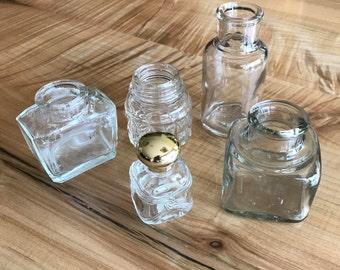 Journey Jars set of 5 vintage bottles and ink wells
